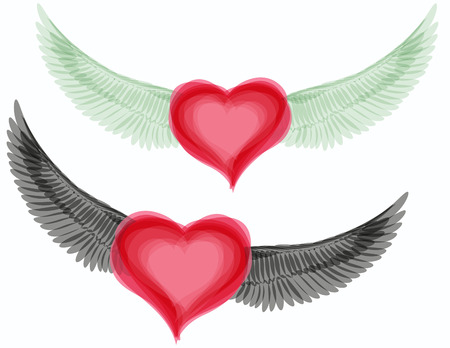 Vector good and evil hearts with wings Vector