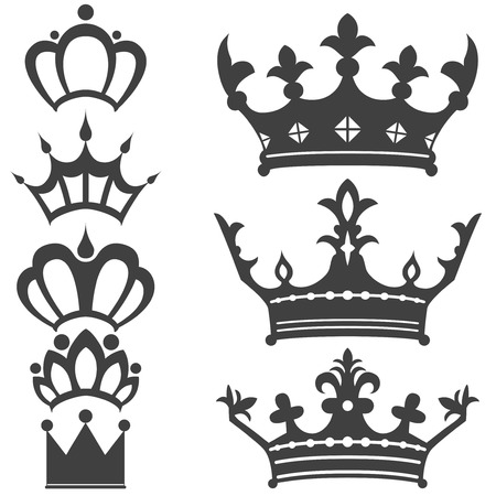 royal person: Collection of vintage crowns Illustration