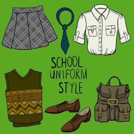 School uniform vector set Vector