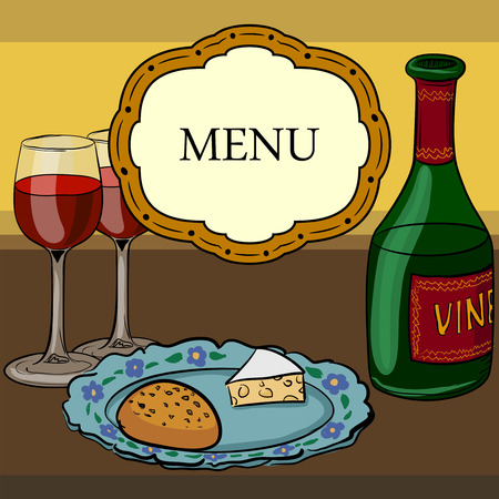Vector drawing of wine and glasses Vector