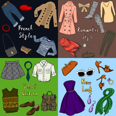 Set of four different stile clothes Vector