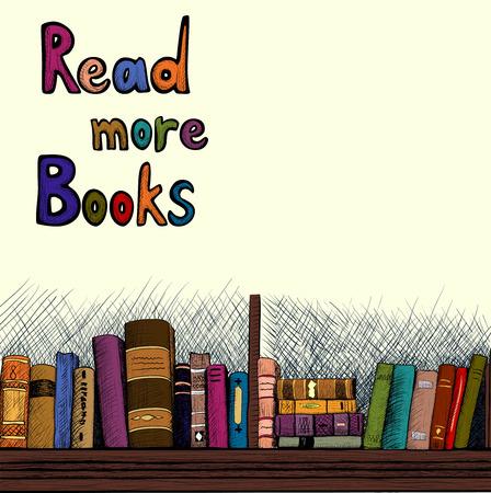 Sketch background with a book shelf