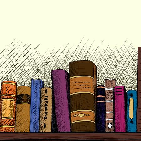 book shelf: Sketch background with a book shelf