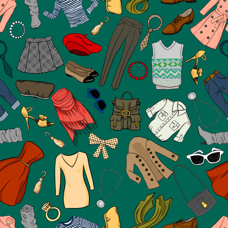 jeans skirt: Fashion cartoon seamless background