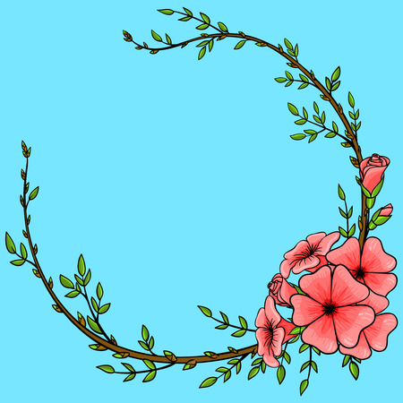Vintage background with cartoon flower wreath frame Vector