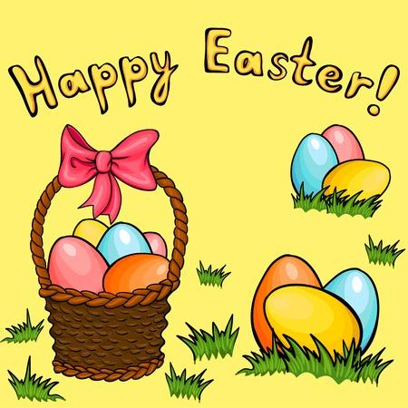 april beautiful: Easter egg basket vector greeting set Illustration