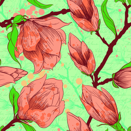 Vintage seamless pattern with magnolia flowers photo