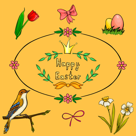 Vector cartoon set for Easter card photo