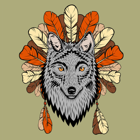 Totem illustration with wolf and feathers Vector
