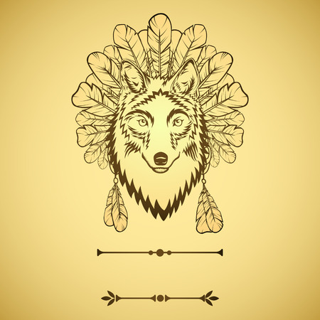 indian tattoo: Totem illustration with wolf and feathers