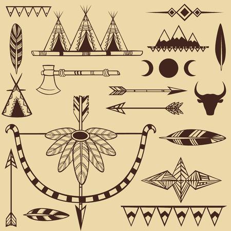 indio americano: Conjunto de objetos del indio americano s
