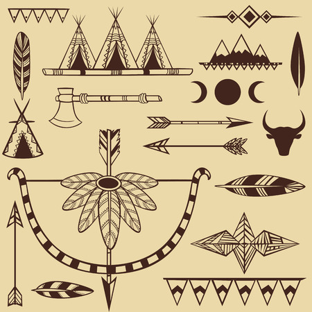 Set of american indian s objects Illustration