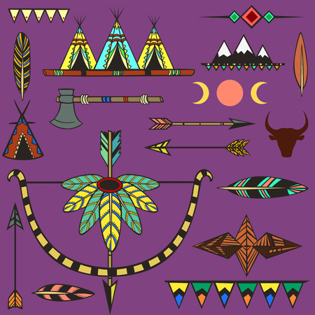 teepee: Set of ethnic american indian s objects Illustration