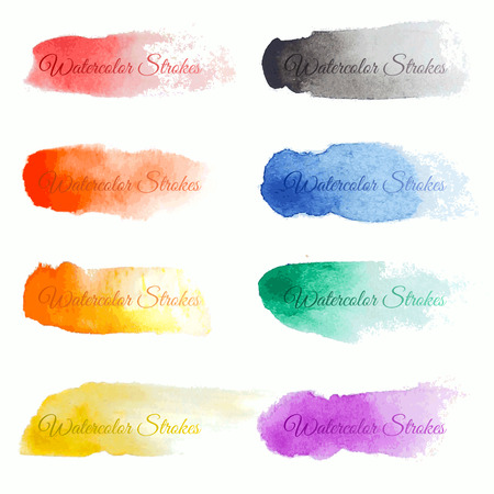 red water: Set of colorful vector brush strokes