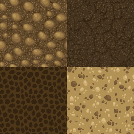 soil texture: Set of vector seamless pattern for ground inside