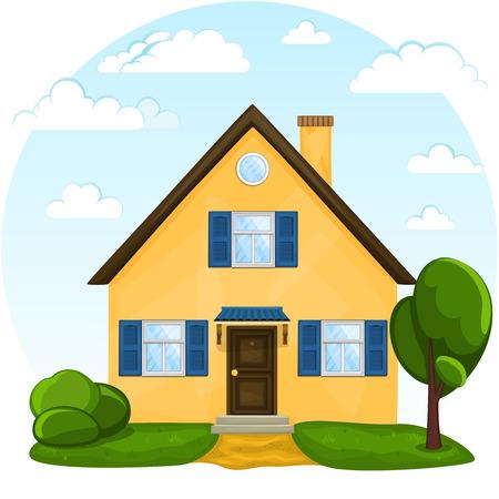 casa blanca: Vector lindo casa de la historieta