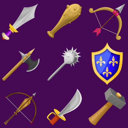 arbalest: Set of vector cartoon weapon icons