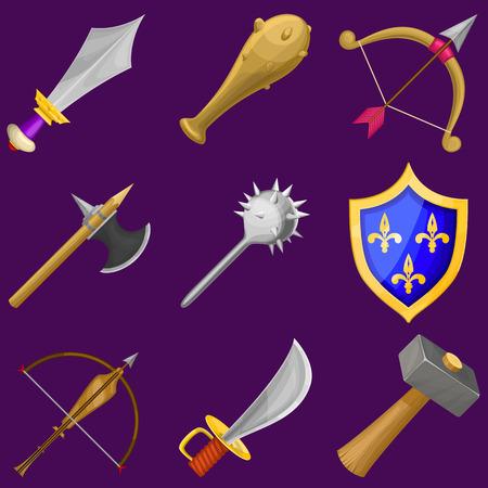 armbrust: Set von Vektor-Cartoon-Waffe Symbolen