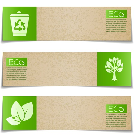 Eco banners with green signs on white background Vettoriali