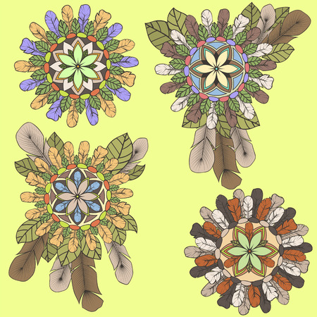Collection of mandalas of feathers and leaves in boho style Vector