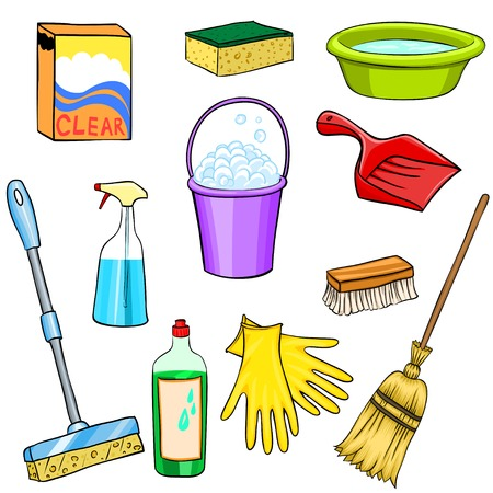 chores: Cleaning supplies cartoon set Illustration