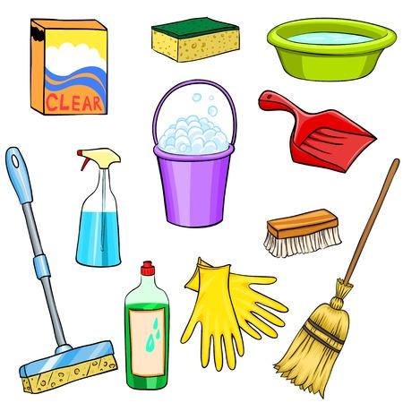 seau d eau: Les produits de nettoyage de jeu de dessin anim� Illustration