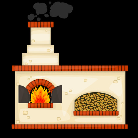 furnace: Decorative russian stove vector Illustration