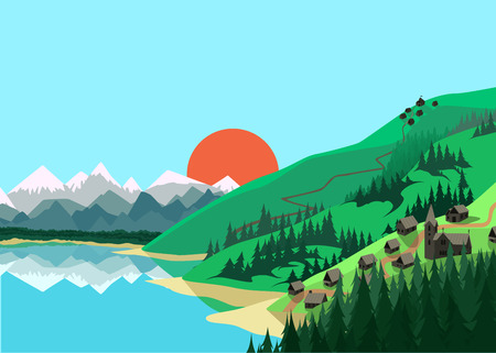 cartoon land: Mountain landscape in flat colors