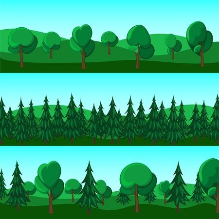 arboles de caricatura: Horizontal banners animados de colinas y árboles Vectores