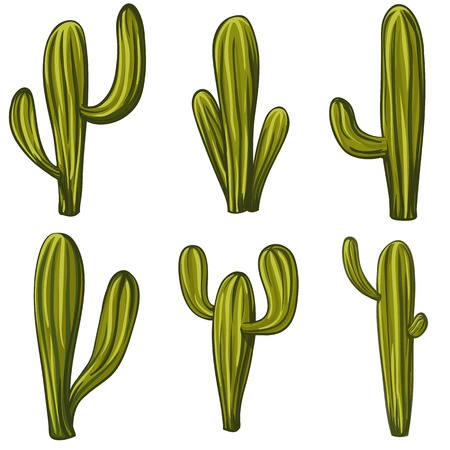 Set of cartoon cacti Vector