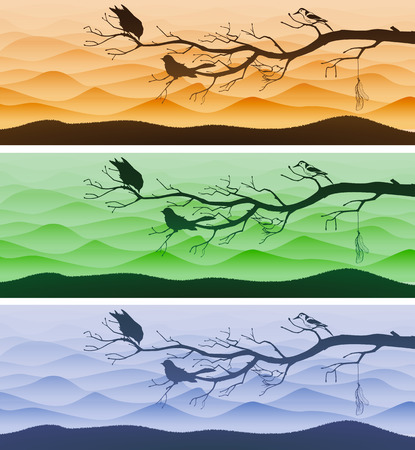 panoramic nature: Three landscape banners with tree branch and birds silhouettes