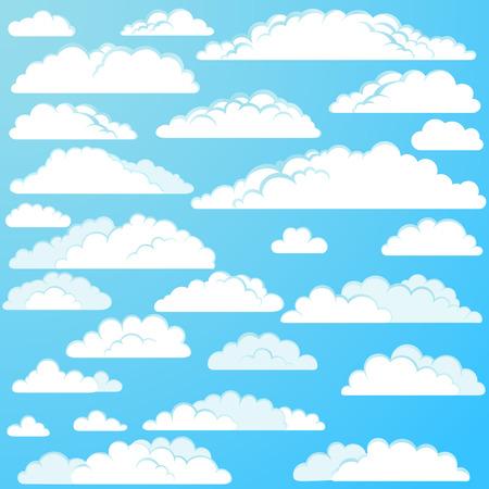 nubes caricatura: Conjunto de vectores de dibujos animados nubes Vectores