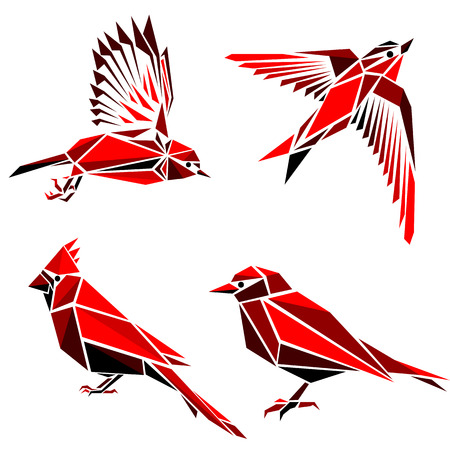 Set of four red triangle formed birds