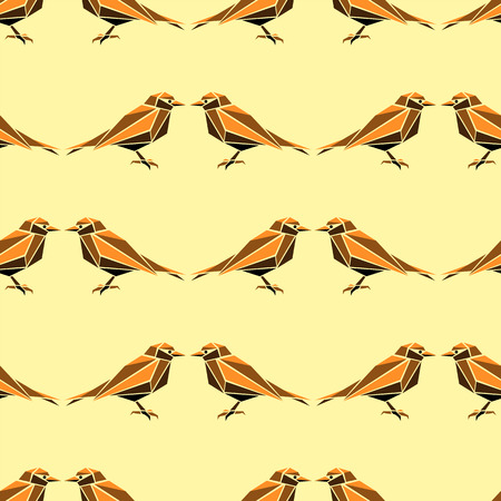 sparrow bird: Seamless pattern with geometric birds