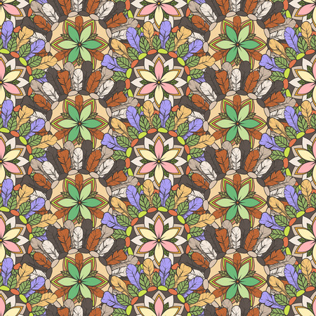 Seamless pattern of feathers leafs and flowers Vector