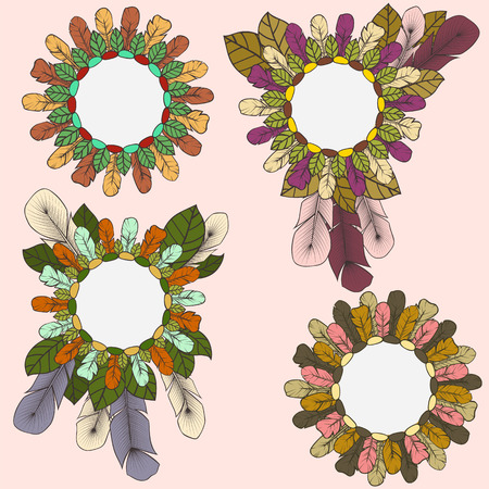 Collection of round frames of feathers and leaves in boho style Vector