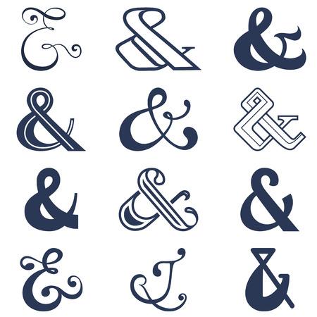 ampersand: Collection of twelve ampersands sign designs  Vector illustration
