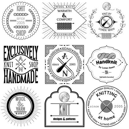 Reeks uitstekende breien etiketten, insignes en design-elementen Vector Illustratie
