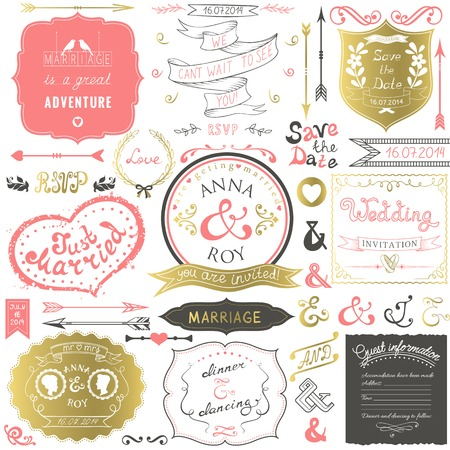 wedding guest: Retro hand drawn elements for wedding invitations, greetings, guest information in delicate colors  Vector illustration