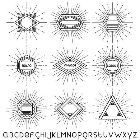 선형 글꼴 벡터 일러스트 레이 션 선형 레트로 빈티지 배지, 프레임 및 레이블 집합