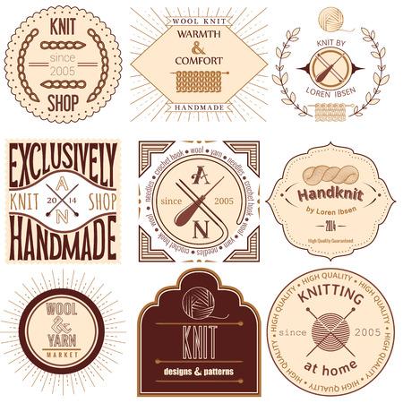Set of vintage knitting labels, badges and design elements  Vector illustration Vector