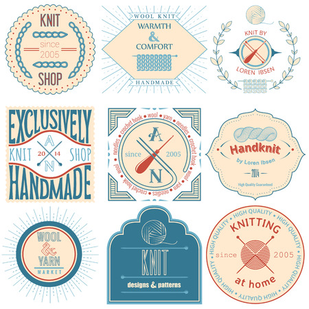 Set of vintage knitting labels, badges and design elements  Vector illustration