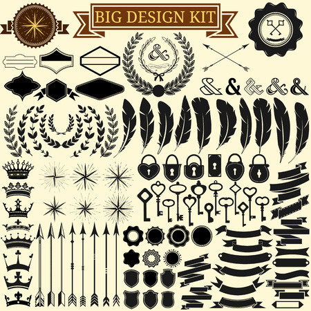 Big vintage design kit  Collection of 100 vector calligraphic icons for retro design, vintage frames, feathers, wreathes, keys, locks, stars, banners  Vector illustration