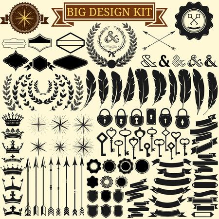 pluma: Gran kit de dise�o de la vendimia Colecci�n de iconos caligr�ficas 100 vectoriales de dise�o retro, marcos vintage, plumas, coronas, llaves, cerraduras, estrellas, banderas ilustraci�n vectorial