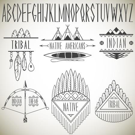 canoa: Colección de elementos de diseño tribales e ilustración vectorial alfabeto
