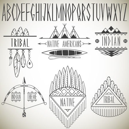 Collection of tribal design elements and alphabet  Vector illustration  Vettoriali
