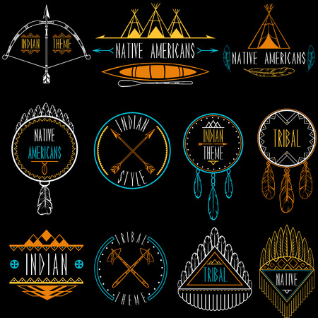 tomahawk: Collection of badges and labels in indian tribal style  Vector illustration