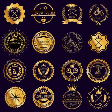 golden key: Collection of vintage round golden badges