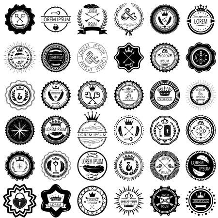 stamp collection: Set of 36 vintage round labels  Vector illustration
