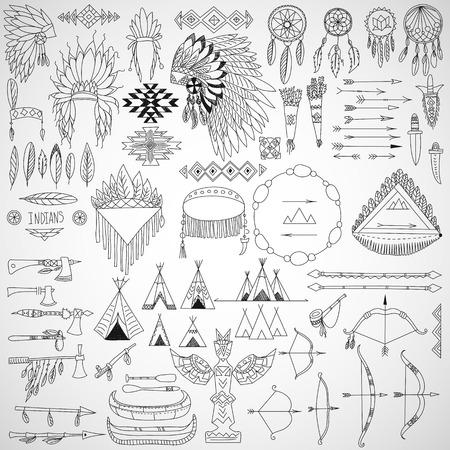 indio americano: Colección de elementos de diseño tribal marcos del doodle, flechas, arcos, armas y tocados ilustración vectorial Vectores